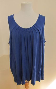 Pursuits Ltd Woman Sleeveless Top 3X Blue Scoop Neck Shirred Rayon Stretch Knit #PursuitsLtdWoman #KnitTop #Casual