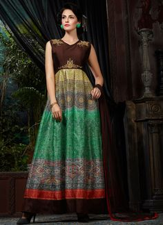 Add grace and charm to your appearance in this attractive multi colour banglori silk designer gown. Beautified with digital print and embroidered work all synchronized nicely through the pattern and design of the attire