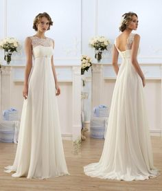 Wedding Gowns Elegant Sheath Wedding Dresses A Line Sheer Neck Capped Sleeve Empire Waist Floor Length Chiffon Cheap Summer Beach Bridal Gowns Bo8190 Bridal Dresses From Factory Sale, $82.73| Dhgate.Com