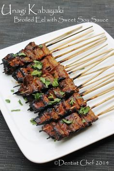 recipe unagi kabayaki japanese style broiled eel bamboo skewer grilled freshwater eel THIS ONE Eel Recipes, Seafood Recipes, Asian Recipes, Healthy Recipes, Healthy Sushi, Grilled Eel Recipe, Grilling Recipes, Cooking Recipes, Japanese Dishes