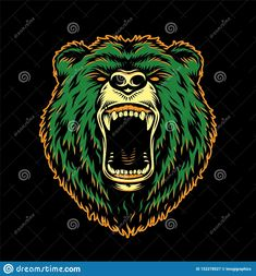 Vintage Ferocious Bear Head Stock Vector - Illustration of symbol, angry: 152278527 Roaring Bear, Card Costume, Green Bear, Bear Vector, Team Mascots, Bear Head, Bear Illustration, Funny Character, Mascot Design