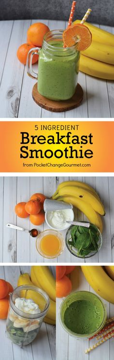 Healthy Smoothies for Breakfast - this 5 ingredient smoothie will get your day started off right! This simple fruit smoothie recipe is packed with protein and vitamins AND it taste GOOD!