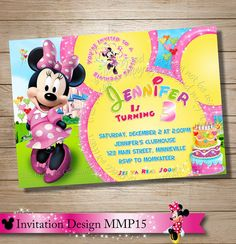 Minnie Mouse Clubhouse Invitation Mickey Minnie Daisy Donald Goofy