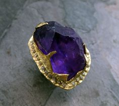 Raw Rough Uncut Amethyst Diamonds 18k Gold Halo Ring Statement ring Show Stopper ring by Angeline