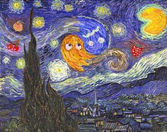 Starry Night at the Arcade  Pac-Man meets Vincent van Gogh Mashup  Created by Noah Gibbs