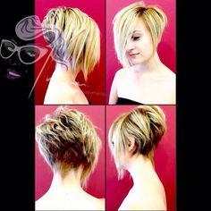 go shorter — by Envy Salon. Medium Hair Cuts, Short Hair Cuts, Short Hair Styles, Long Bob Haircuts, Short Bob Hairstyles, Asymetrical Haircut, Stacked Hair, Mom Hairstyles, Corte Y Color