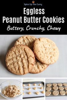 Eggless peanut butter cookies recipe – These no egg peanut butter cookies are buttery, crunchy and chewy with sweet and salty taste. Keto Cookies, No Egg Cookies, Sugar Cookies Recipe, Healthy Cookies, Cookies Et Biscuits, No Egg Cookie Recipe, Eggless Biscuits, Apple Cookies, Cream Cookies