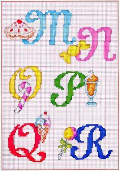 Alfabeto punto croce con cose da mangiare dolci gelati (3)