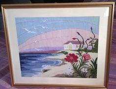 Paesaggio marino,quadro ricamato a mano