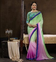 Pastel Green & Pink Color Wrinkle Crepe Festival & Function Sarees : Ruina Collection YF-31420