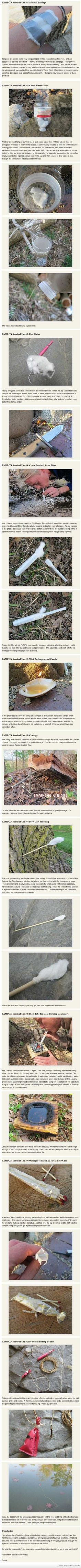 Survival uses for tampons-totally legit, I'm definitely making sure some come along for camping and hiking every trip Apocalypse Survival, Survival Mode, Homestead Survival, Wilderness Survival, Survival Tools, Camping Survival, Outdoor Survival, Survival Prepping, Outdoor Camping