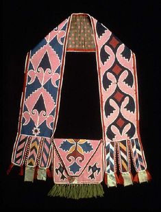 Delaware Indian Bandolier Bag -- Circa -- Possibly Shawnee -- Cotton cloth, silk ribbon, wool yarn, glass trade beads, sewn w/ thread -- The Masco Collection at the Metropolitan Museum of Art. Native American Dress, Native American Artwork, Native American Artifacts, Native American Beadwork, Native American Indians, Delaware Indians, Indian Beadwork, Art Articles, Indian Patterns