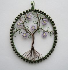 Louise Goodchild Designs TUTORIAL wire wrapped leafy tree pendant with flowers (Tutorial to Buy)