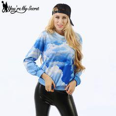 [You're My Secret] New Autumn Winter Woman Hoodies Blue Sky and White Clouds Digital Printing Long Sleeve Sweatshirt Woman