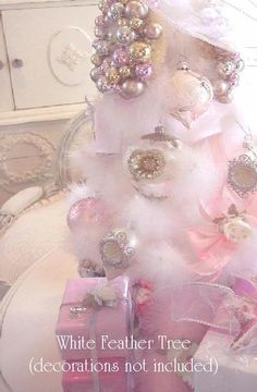 WHITE FEATHER CHRISTMAS TREE SHABBY CHIC COTTAGE