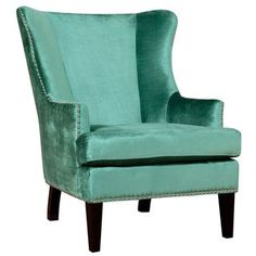 Shop for Soho Turquoise Velvet Wing Chair. Get free shipping at Overstock.com - Your Online Furniture Outlet Store! Get 5% in rewards with Club O!