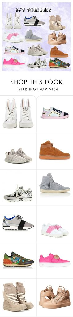 """S/S  Sneakers"" by kallysantos on Polyvore featuring Minna Parikka, Sophia Webster, adidas Originals, NIKE, Yves Saint Laurent, Balenciaga, Valentino, Versace, Rick Owens and Giuseppe Zanotti"