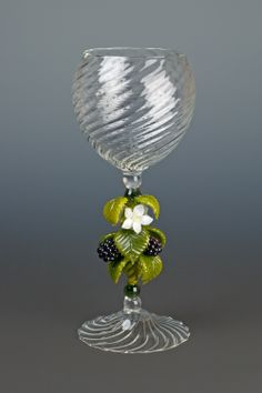 This blackberry goblet represents my brief foray into the world of borosilicate glass in 2005.  On the one hand it is forgiving of thermal shock.  On the other hand, you can't leave any acute angles where the glass joins together, so it's very difficult to make really lifelike plants.