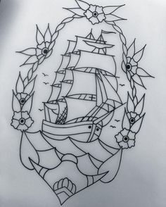 Pirate Ship Tattoo Outline