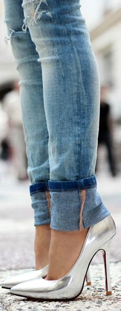 Silver heels + jeans.