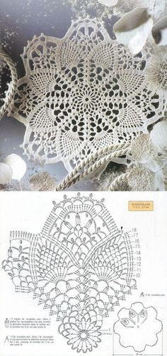lots of doily patterns. Filet Crochet, Mandala Au Crochet, Crochet Doily Diagram, Crochet Doily Patterns, Crochet Chart, Crochet Squares, Thread Crochet, Crochet Designs, Crochet Stitches