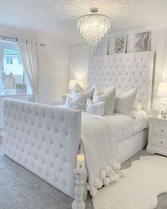 White Bedroom Decor, Glam Bedroom, Stylish Bedroom, Room Ideas Bedroom, Home Decor Bedroom, Earthy Bedroom, Bedroom Interiors, Kids Bedroom, Girl Bedroom Designs