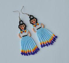 Items similar to Native Americans Beaded Jewelry Lady Earrings native jewelry Fiesta Doll Earrings Fringe earrings Tassel Seed bead on Etsy Beaded Earrings Patterns, Beaded Tassel Earrings, Tassel Jewelry, Seed Bead Earrings, Beading Patterns, Women's Earrings, Seed Beads, Fringe Earrings, Beaded Chandelier