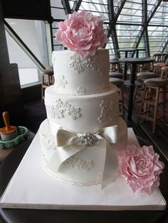 Pink Peony Wedding Cake via HomeBaked by Audrey