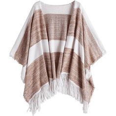 Two Tone Cape Tassels Open Front Cardigan Stripe (230 SEK) ❤ liked on Polyvore featuring tops, cardigans, tassel cardigan, brown top, brown cardi, stripe cardigan and striped cardigan