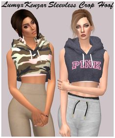 Cropped sleeveless hoodie for The Sims 4