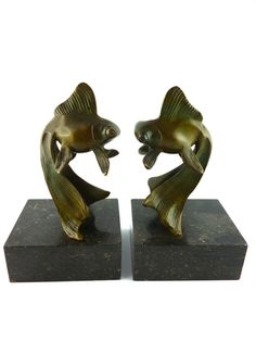 "GEORGES RAOUL GARREAU * Gorgeous pair of bronze Art Deco ""Goldfish"" bookends"