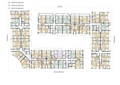 Image 21 of 21 from gallery of Eve / DKO. Floor Plan Image 21 of 21 from gallery of Eve / DKO. Apartment Floor Plans, Bedroom Floor Plans, House Floor Plans, Residential Building Plan, Residential Complex, Hotel Floor Plan, Urban Design Diagram, Future Buildings, Hotel Architecture