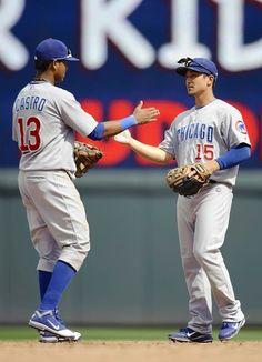 Starlin Castro and Darwin Barney celebrate the win against the Twins. 6/10/12