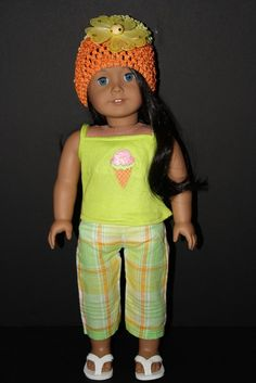 Plaid Capri Pants With Green Tank Top and Hat for American Girl Doll $15.00