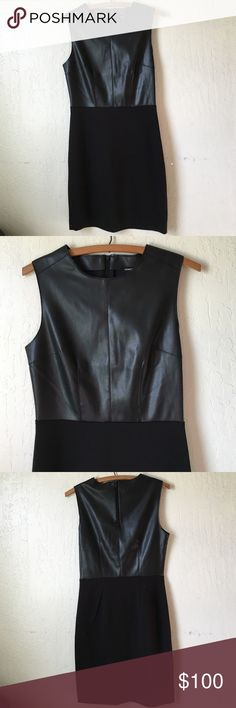 Host Pick!! Vegan Leather Dress Brand  NEW WITH TAG. Vegan Leather Dress from Kenneth Cole Reaction. This dress is a vegan leather bodice. Vegan leather on top and double knit on lower part. Concealed back zip. Round neck. Sleeveless. Would look amazing in black ankle boots or stiletto. Size 0. This came from Fall 2015 collection. Accepting reasonable offer  Kenneth Cole Dresses Mini