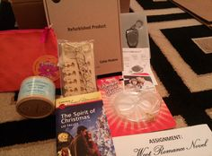 """Sept. 2014 - Woot BOC:  -Cable Modem (doesn't work) -Voice recording keychain (does work) -Amazing Straw glasses -Woot homework -""""The Spirit of Christmas"""" by Liz Talley -Solid conditioner -Orange zipper tote -Pedicure set"""