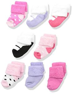 Luvable Friends Baby 8 Newborn Socks Pink Shoes 0-6 Months