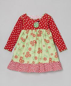Take a look at this Red & Green Poinsettia Ruffle Dress - Toddler & Girls by Tutu & Lilli on #zulily today!