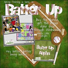 Chelle's Creations has a new baseball bundle. With peanuts and popcorn and cracker jacks, this kit will have you scrapping all your spring training games, regular season games and practices in no time. With everything you need in 7 team colors! Buy the Bundle and get the NEW alpha free! {03.23.12}