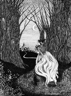 """Fantasy Fairytale Art - """"The Little Witch"""" - a delicate pen and ink artwork of a young witch travelling through the woods at night, by Kirstin Mills."""