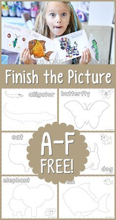 Finish the Picture ~ Fun Trace and Draw Printables for Kids!  Grab Alligator, Butterfly, Cat, Dog, Elephant and Fish for free!