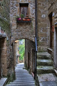 Pitigliano ~ Tuscany ~ Italy. This picture is using the element space because you are able to see the different distances from your own point of view. You can see between, around, and above. The positive space would be the wall in the front. While the negative space is the pathway leading out.