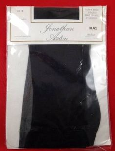 Vtg-Jonathan-Aston-Black-Stockings-Ultra-Sheer-Stretch-Seam-and-Heel-Size-B-Medi