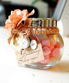 Новогодние  подарки своими руками, конфеты, стеклянная  банка, подарок, сладости, скрап, винтаж, цветы, тесьма, пуговицы