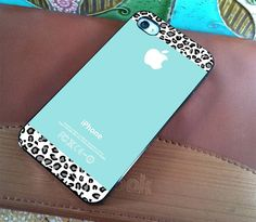Tiffany Teal and Black Leopard  for iPhone 4 case by WhiteBoardArt, $15.89