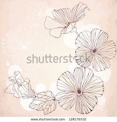 Romantic frame with pink hibiscus flowers. Vintage design for invitation, wedding or greeting cards. Vector  illustration, - stock vector