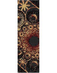 Tapisserie noir Peyote Cuff Bracelet perlé Pattern