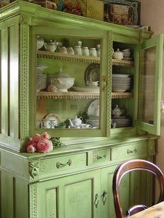 Shamrock Cottage:  #Shamrock #Cottage ~ Lovely vintage cabinet repainted and filled with crockery.