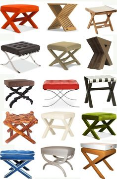 X Stools - Love the idea of two of these pushed to together at the foot of a bed...maybe in a guest room with a tray on it...