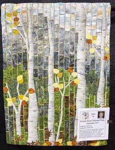 """""""Grand Teton National Park Sept. 2015"""" by Carol Lee. Inspired by a workshop taught by Gloria Loughman. 2016 El Camino Quilters guild show (California)"""